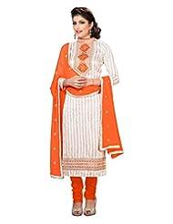 Lookslady Embroidered Beige Bhagalpuri Silk Zari Work Semi Stitched Salwar Suit