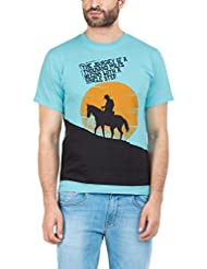 Zovi Men's Cotton Cowboy Aqua Blue Graphic T-shirt (10901500301)
