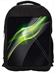 """Snoogg Abstract Green And Grey Design Casual Laptop Backpak Fits All 15 - 15.6"""" Inch Laptops"""