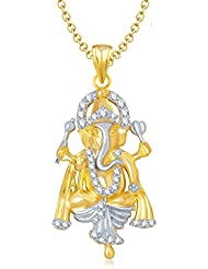 Amaal Ganesha Ganpati God Pendant With Chain For Men,Women Gold Plated In American Diamond Cz Jewellery GP0142