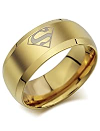 Titanium Golden Superman Ring For Men And Boys By Via Mazzini (Size 11)