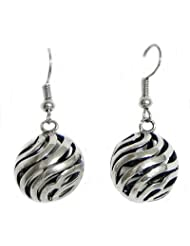 DollsofIndia Steel Carved Ball Earrings - Stone And Metal - Silver Color