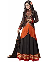 Aryan Fashion Designer Black With Orange Georgette Anarkali Suit For Women & Girls Party Wear For Girls For Specail...