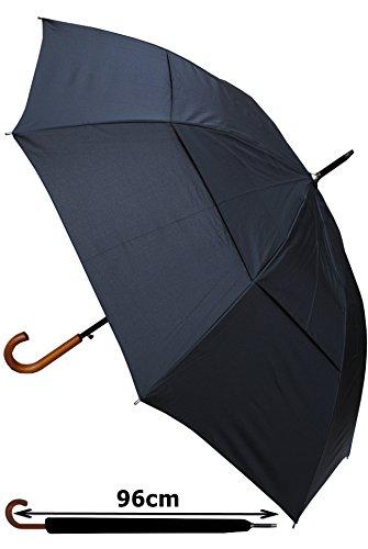 Parapluie Canne - EXTRA SOLIDE - Résistant Au Vent - Automatique - Double Toile Pour Lutter Contre Les Dommages Causés Par Retournement - Poignée En B...