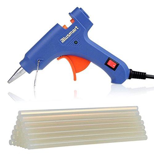 Blusmart Mini pistolet à colle chaude avec 25 pcs Sticks de colle Haute température Kit pistolet à colle déclencheur flexible pour petits bateaux Projets & Package bricolage et réparations rapides dans Home & Office Proprement (20 watts, Bleu)