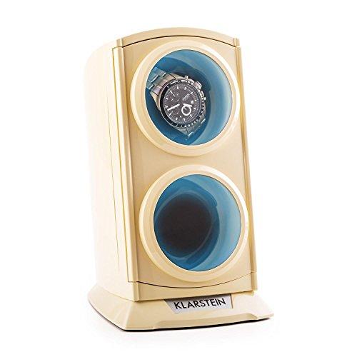 Klarstein St.Gallen Premium Remontoir automatique pour 2 montres (ultra-silencieux, 4 programmes, rétro-éclairage bleu) - crème