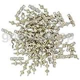 Alcoa Prime 50 Pieces Zinc Alloy Clear Rhinestone 3 Hole Spacer Bar Connector Beads DIY