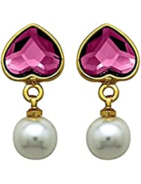 Mahi With Swarovski Elements Valentine Pink Heart Pearl Gold Plated Earrings For Women ER1104094GPin