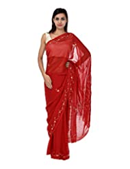 A1 Fashion Women Georgette Red Saree With Blouse Piece