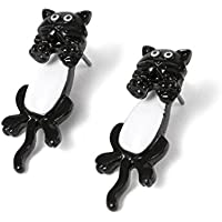 Front And Back Earrings, Black And White Kitty Cat