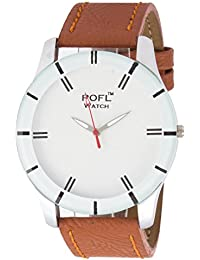 Addic White Dial And Tan Strap Circular Dial Analog Watch For Men