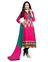 Surat Tex Pink Color Casual Wear Embroidered Cotton Semi-Stitched Salwar Suit-D985DL3105RG