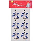 FunRobbers Christmas Decoration Hanging Designer Bells Blue Small- Pack Of 6