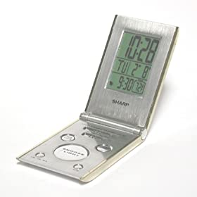SharpTech SPC303 LCD Travel Alarm Clock with Folding Metal Case (Champagne)