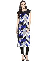 ZIYAA A-Line Multi Half Round Neck Printed Art Crepe Regular Fit Kurtis For Women - B01C9WEXUE