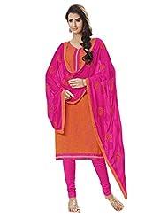 Inddus Women Orange & Pink Colored Cotton Blend Dress Material