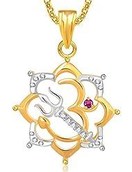 Om Pendants Lockets With Chain In Pendants & Lockets For Men Women In American Diamond Cz Jewellery Gifts Gold... - B018R27SHA