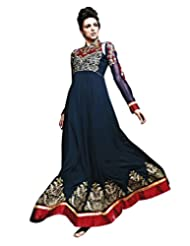 Lookslady Embroidered Dark Blue Pure Georgette Zari Work Semi Stitched Anarkali Suit