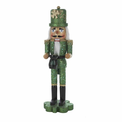 St Patricks Day Nutcracker on Shamrock Base