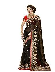 Vipul Heavy Embroidery Black Georgette Saree