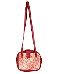 Handmade Peach Printed Cotton & Faux Leather Floral Sling Bag By Rajrang