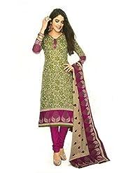 SGC SGC Green Cotton Printed Unstitched Churidar Kameez - (SGS- 218)