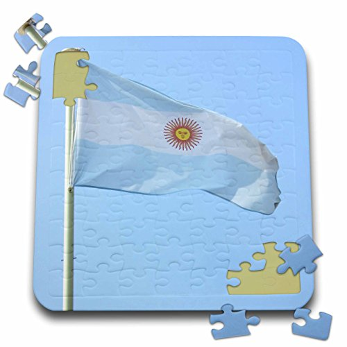 InspirationzStore Flags - Flag of Argentina flying in the wind against blue sky - world Argentinian country photography - 10x10 Inch Puzzle (pzl_157804_2)