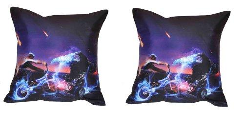 MeSleep Digital Print Bike And Car 2 Piece Cushion Cover Set - Purple