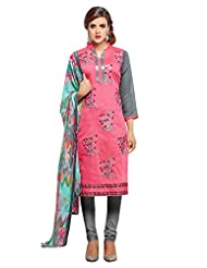 Mastani Kreation Pink, Grey Chanderi Embroidered Unstitched Dress Material