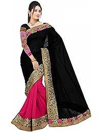 Koroshni Sarees For Women Embroidered Orange Half And Half Georgette Saree Latest Designer Saree With Blouse Material