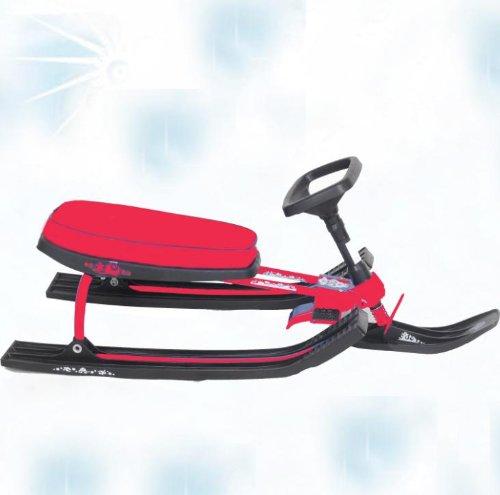 Extrem schneller und leichter Lenkschlitten mit extra breitem Sitz und Kufen Bob Lenk Kinder Schlitten Rodel rot