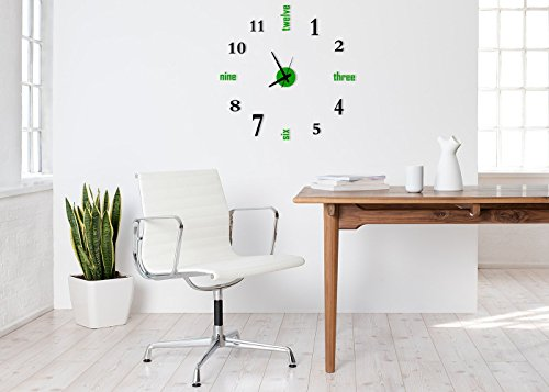 Time It Designer Self Adhesive Innovative DIY (Do It Yourself) Analog Wall Clock - (Green - Black)