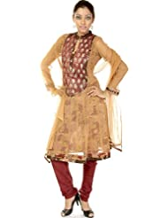 Exotic India Sandstone Choodidaar Flair Suit With Embroidered Sequin - Sandstone