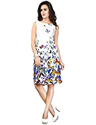 Shree Sanskruti Women's Sleeveless Digital Printed Solid Fit-and-Flare Dress