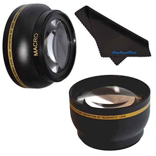 58mm HD 2.2x Telephoto & .43x Wide Angle Lens Bundle For Panasonic Lumix G Vario 14-140mm F3.5-5.6 ASPH. / Power O.I.S 2.2x 58mm Wide Angle Lens 58mm Telephoto Lens 58mm Lens 58mm Lens Kit