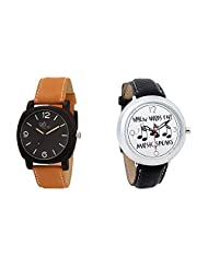 Gledati Men's Black Dial & Foster's Women's White Dial Analog Watch Combo_ADCOMB0002043
