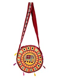Antique Yellow Embroidered Cotton Elephant Sling Bag For Women's By Rajrang