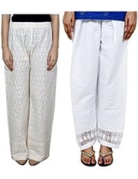 Indistar Women Full Cotton Chikan Cream Palazzo With Cotton White Chaudi Lace Semi- Patiala Salwar - Free Size (Pack Of 1 Palazzo With 1 Patiala Salwar)