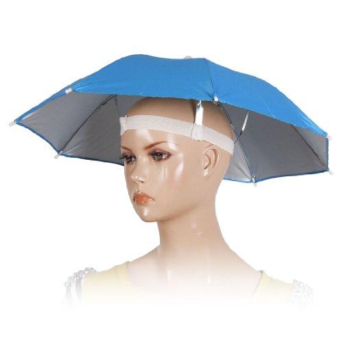 uxcell 傘帽子 傘ハット ポリエステル帽子 釣り ゴルフビーチ用 ブルー メタル 30.48ー38.1 cm