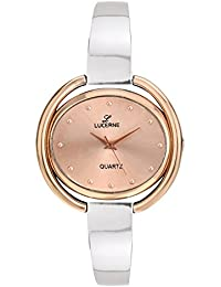 LUCERNE Analogue Copper Color Dial And Silver Color Metal Strap Watch For Women. A Modern Lady Watch.