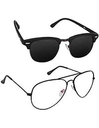 Magjons Fashion Combo Of Black Club Master And Clear Lens Aviator Sunglasses