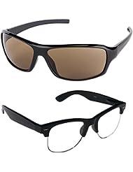 New Stylish UV Protected Combo Pack Of Sunglasses For Women / Girl ( BrownWrap-ClearHFWayfarer ) ( CM-SUN-058 )