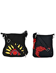 Combo Of Black SunFlower Sling With Black Small Sling Bag