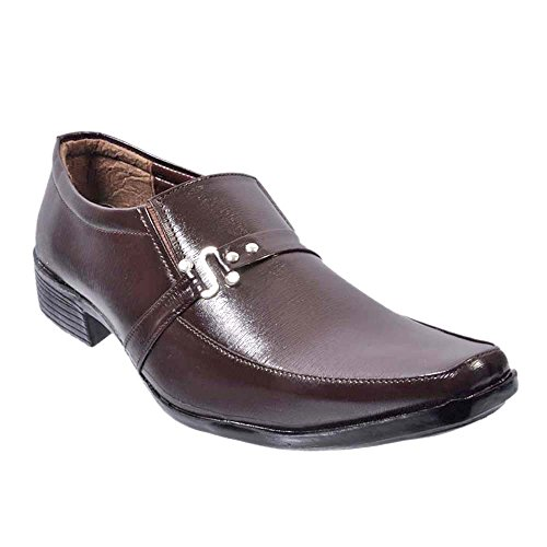 Nonch Le Brown Leather Slip On Formal Shoes Men