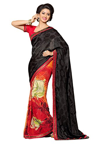 AG Lifestyle Black & Red Faux Georgette & Jacquard Pallu Saree With Unstitched Blouse ELG8011