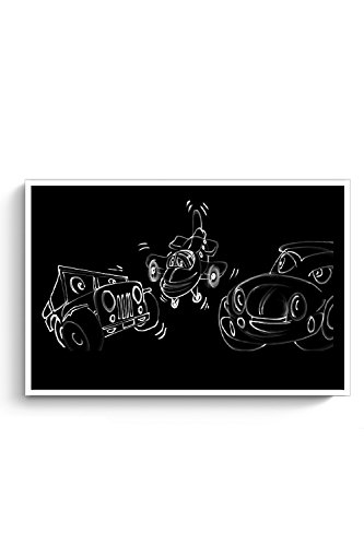 PosterGuy Funny Cars Talking Concept Art, Art, Black And White Poster