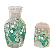 ArtisanStreet's Bedside Water Carafe Set in Lily of the Valley Design. Two Piece Floral Set Includes Carafe and Matching Glass. Made To Order & Signed By Artisan.