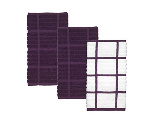 Cotton Soft and Durable 3 Piece Woven Solid and Check Kitchen Towel Set (Plum)