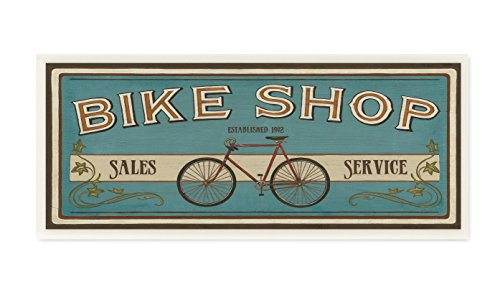 The Stupell Home Decor Collection Blue Bike Shop Store Sign Wall Plaque