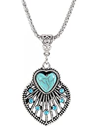 Glitz Trendy Collection Turquoise Gem Heart Fan Alloy Pendant Necklace For Women